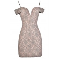 Lace Party Dress, Lace Cocktail Dress, Pink and Mauve Lace Dress