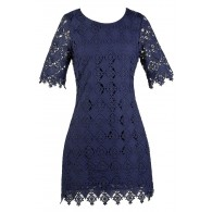 Navy Lace Sheath Dress, Cute Navy Dress, Online Boutique Dress