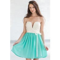 Daydreaming Of You Strapless Dress in Ivory/Jade