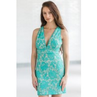 Girls Night Out Lace Cocktail Dress in Teal