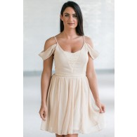 Erica Lace Panel Off Shoulder Dress in Cream
