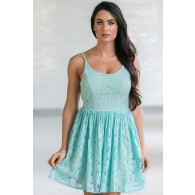 Spring Forward Mint and Beige A-Line Lace Dress