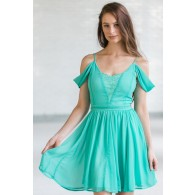 Erica Lace Panel Off Shoulder Dress in Jade