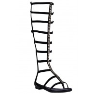 Black Stud Gladiator Sandals, Cute Hippie Sandals