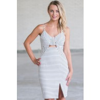 Cute Black and White Stripe Dress, Cute Summer Cocktail Dress, Online Boutique Dress