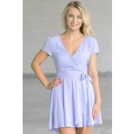Cute Pale Blue Wrap Dress, Sky Blue Dress, Periwinkle Blue Online Boutique Dress