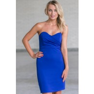 Royal Blue Cocktail Dress, Cute Blue Strapless Dress, Online Boutique Dress, Blue Party Dress
