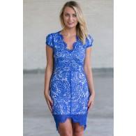 Bright Blue Lace Sheath Dress, Online Boutique Royal Blue Lace Dress, Cute Summer Cocktail Dress