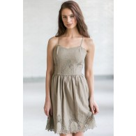 Cute Olive Green Eyelet Dress, Olive Green Summer Dress, Cute Sundress, Online Boutique Dress