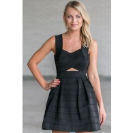 Banded Together Cutout A-Line Dress in Black