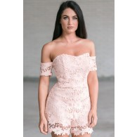 Pretty as a Peach Floral Lace Off Shoulder Romper