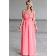 Prettiest Pixie Crochet Lace Open Back Maxi Dress in Pink