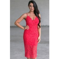 Game Changer Red Lace Midi Dress