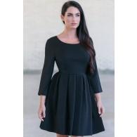 Black A-Line Party Cocktail Dress