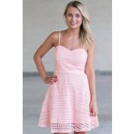 Pink Lace A-Line Dress, Cute Pink Dress, Pink Summer Dress, Pink Party Dress