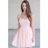 Pale Pink Lace Summer Dress, Pink Party Dress, Cute Pink Dress Online