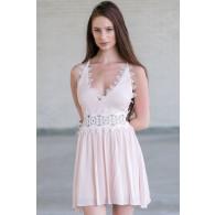 Pale Pink Blush and Ivory Lace Dress, Cute Summer Dress, Pink Party Dress