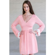 Cute Pink Bell Sleeve Dress, Cute Summer Dress, Boutique Dress