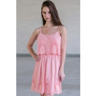Cute Pink Summer Dress Online, Pink Embroidered Dress, Pink Party Dress