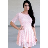 Pink Lace Dress, Cute Pink Dress, Pink Summer Dress Online