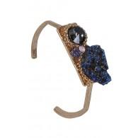 Cute Stone Cuff Bracelet, Gold Boho Jewelry, Blue Rough Stone Bracelet