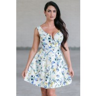 Blue Floral Print A-Line Sundress, Cute Summer Dress Online, Juniors Dress