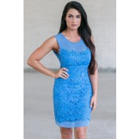 Bright Cerulean Blue Lace Dress, Blue Lace Sheath Dress, Cute Online Boutique Dress