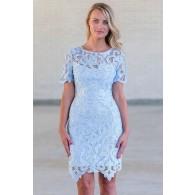 Cute Sky Blue Lace Dress Online, Juniors Pale Blue Lace Dress, Boutique Bridesmaid Dress