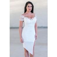 White Lace Pencil Dress Online, Cute White Juniors Boutique Dress, White Cocktail Dress