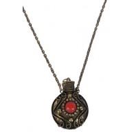Bronze Stone Canteen Necklace, Cute Boho Pendant