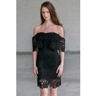 Black crochet lace off shoulder dress, Cute Little Black Dress Online