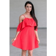 Red Off Shoulder Ruffle Dress, Cute Red Party Dress Online