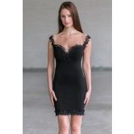Black Lace Trim Cocktail Dress Online, Cute Juniors Party Dress