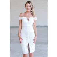 Off White Lace Pencil Dress, Cute Cocktail Dress