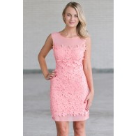Pink Lace Sheath Dress, Cute Pink Dress Online
