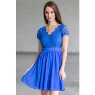 Bright Royal Blue Capleeve Dress, Blue Lace Party Dress