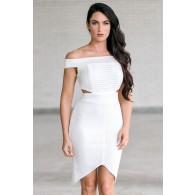 Off white off shoulder cutout pencil dress, Cute off white juniors dress