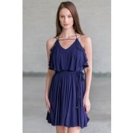 Navy Flutter Top Summer Dress, Cute Juniors Dress Online