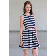Navy and Beige Stripe Dress, Cute Summer A-Line Party Dress