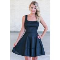 Black A-Line Party Dress, Cute Black Dress