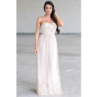 Ivory and Gold Maxi Prom Dress, Cute Formal Dress