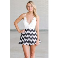 Chevron Dreams Black and Ivory Lace Romper