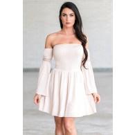 Cute Cream Blush Off the Shoulder Fall Boho Festival Dress