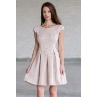 Cute Beige Tweed A-Line Work Dress