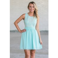 Amanda Embroidered and Embellished A-Line Dress in Sky Blue