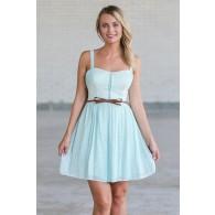 Cute Mint Green Belted Summer Dress