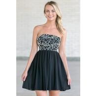 Tangled Webs Strapless Dress in Black