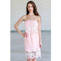 Flower Patch Embroidered Strapless Dress in Pink
