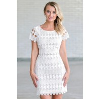 White and Beige Lace Rehearsal Dinner Bridal Shower Dress
