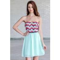 Pixelated Waves Belted Mint Strapless Dress